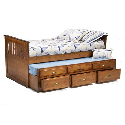 logan twin captains bed  trundle drawers miskelly