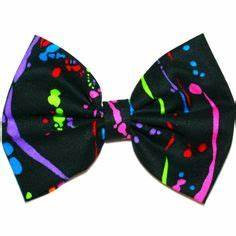 NEON hair bow bow tie green yellow orange by