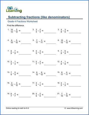 Grade 4 Math Worksheets Subtracting Like Fractions  K5 Learning