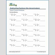 Grade 4 Math Worksheets Subtracting Like Fractions  K5 Learning