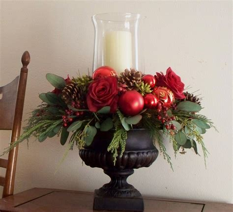 christmas centerpiece red silk in black urn 79 00 via etsy christmas decorating ideas