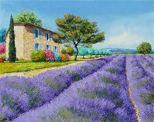 Painting art landscape Jean-Marc Janiaczyk field flowers ...