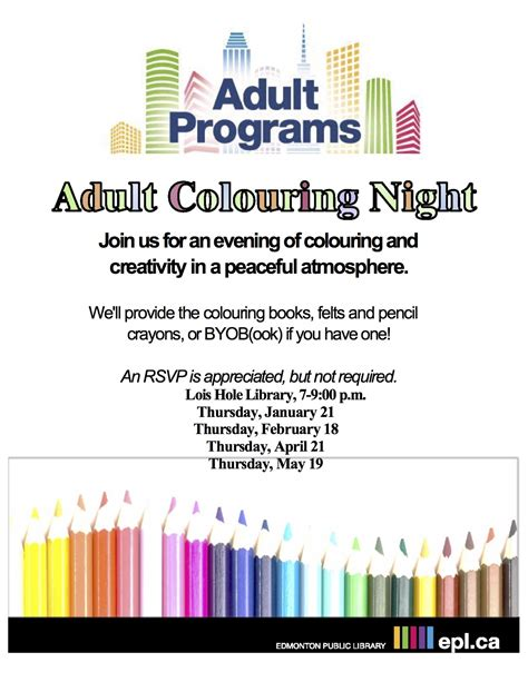 adult coloring night at lois hole library see flyer for