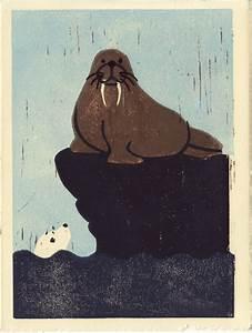 Walrus And Seal Hand Pulled Linocut Illustration Art Print
