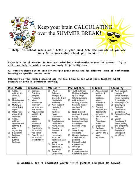 math worksheets activities free middle