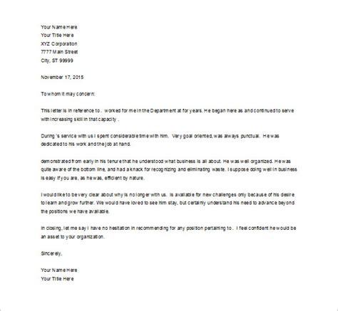 job recommendation letter 8 free word excel pdf