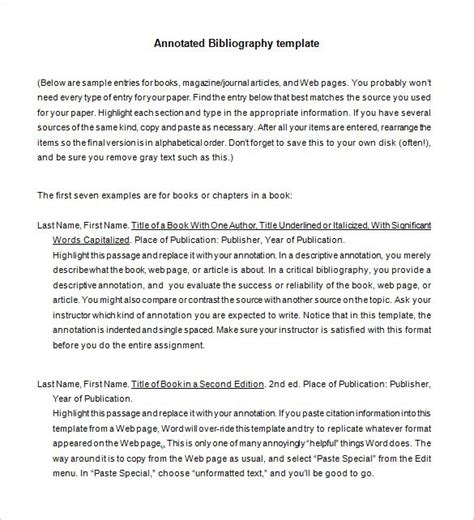 annotated bibliography template 7 annotated bibliography templates free word pdf format free premium templates