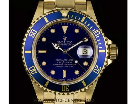 Rolex 18k Yellow Gold Oyster Perpetual Blue Dial ...