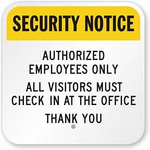 image gallery office security sign With all visitors must sign in template