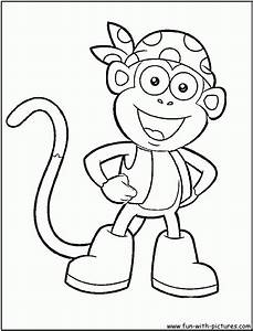 Boots Monkey Animal Dora The Explorer Coloring Pages