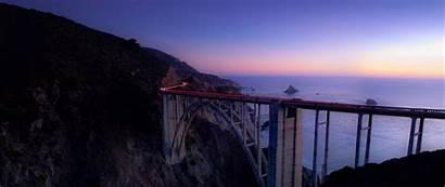 Cliff Sea Bridge Night Wallpapers 1080p Lights