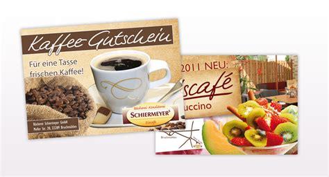 kaffee gutscheine baeckerei schiermeyer gute werbung