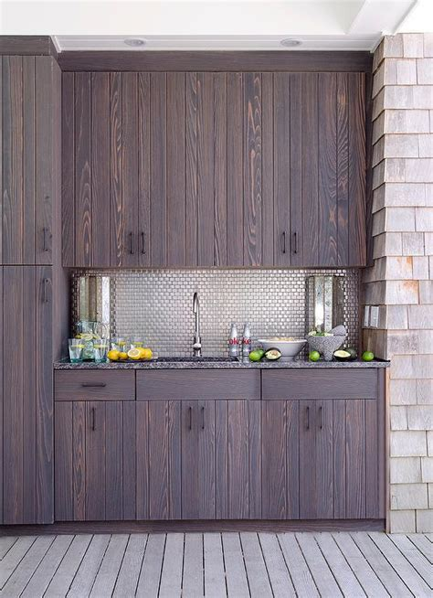 Outdoor Kitchen With Stainless Steel Mini Brick Tile