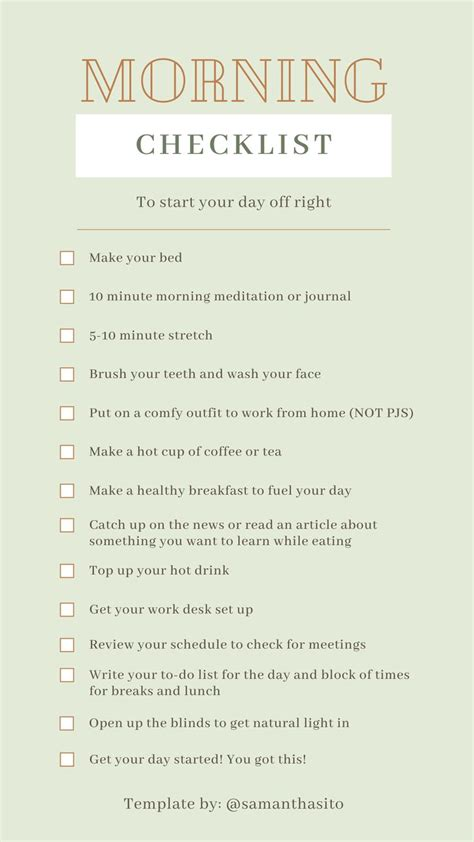 morning checklist   productive day   morning