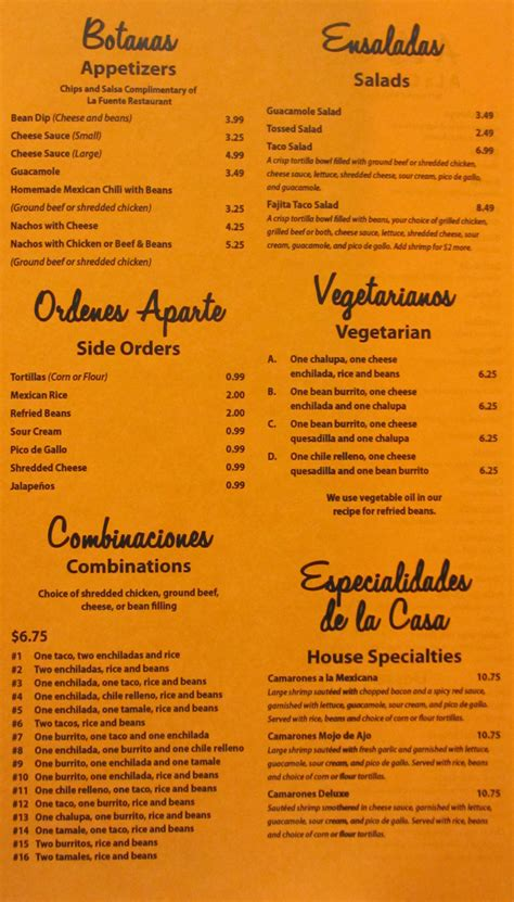 La Fuente Menu @ Kirksville Menus – Restaurants in ...