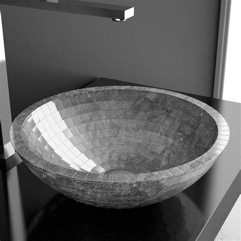 WS Bath Collections Mosaic Vessel Bathroom Sink in Silver