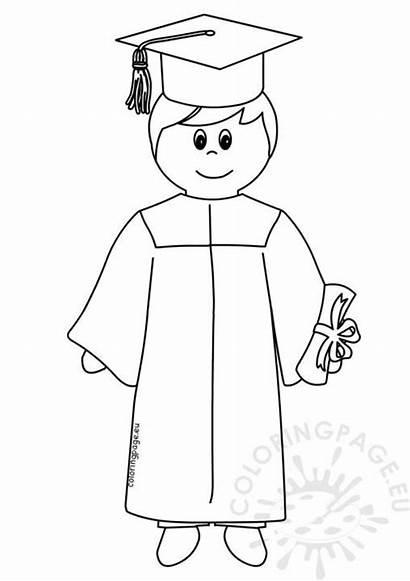 Coloring Student Graduate Boy Cartoon Graduation
