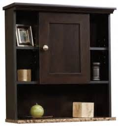 sauder peppercorn wall cabinet in cinnamon cherry