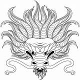 Dragon Coloring Head Dragons Pages Adult sketch template
