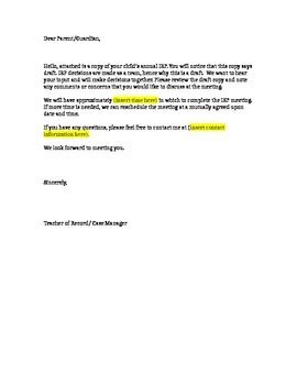 draft cover letter draft iep cover letter by the magic bag tpt