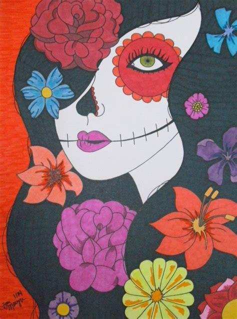 Sugar Skull Girl Flowers Drawing Inch Day
