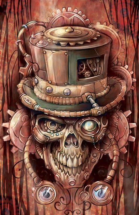 newsblur steampunk fantasy art skull art