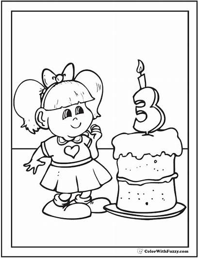 Birthday Coloring Pages Happy Third Printable Sheet
