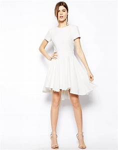 asos skater dress with full skirt and dipped hem in white With robe blanche asos