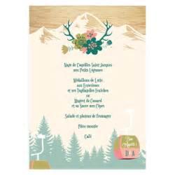 impression menu mariage menu de mariage montagne personnalisé menu montagnard