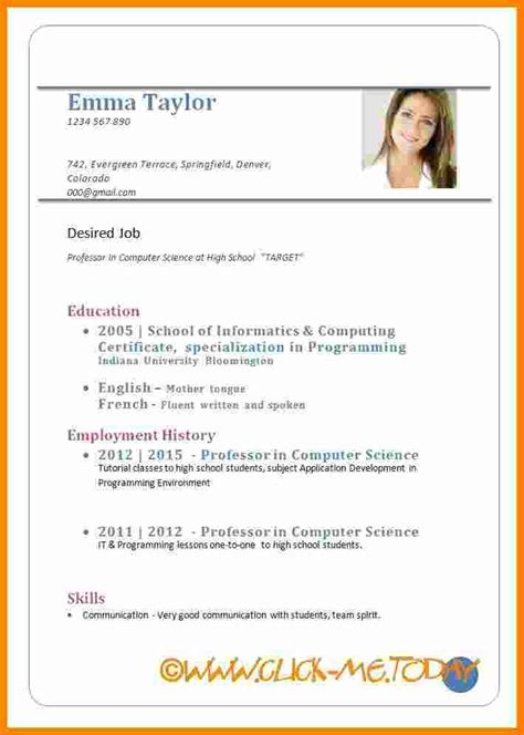 Resume Format Docs by 9 Cv In Exle Doc Theorynpractice