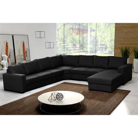 canape d angle 8 10 places canapé d 39 angle en u oara 7 8 places tissu noir design