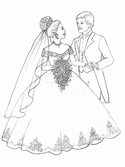 Coloring Pages Printable Weddings Couple Marry Sheets