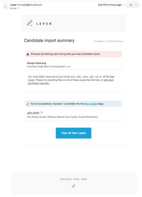 how do i forward candidates to lever via email lever