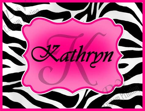zebra hot pink personalized  monogram