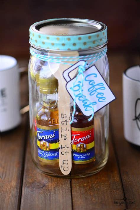 coffee break mason jar gift  gunny sack