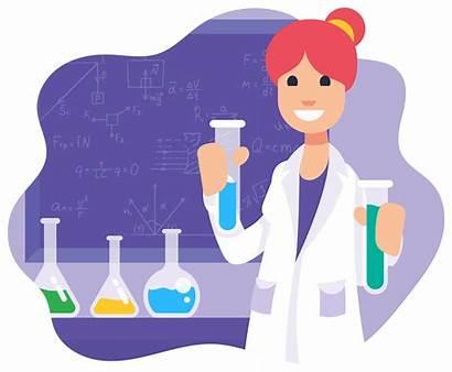 Scientist Female Vector Illustration Cartoon Science Data