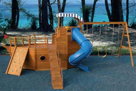 Playhouse Swing Set Plans  Youngster's Yacht Backyard