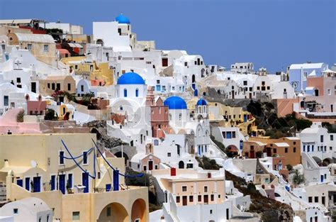 View Of Oia Village Of Santorini Archipelago Stock Photo
