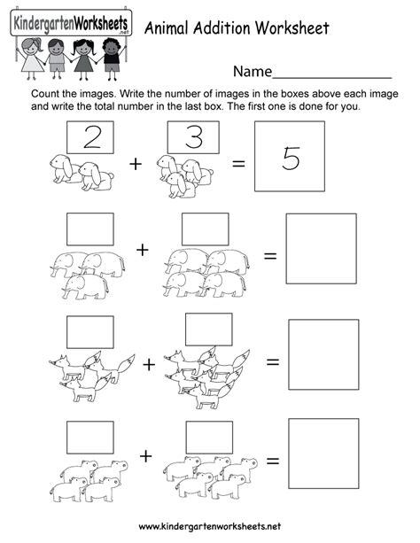 animal addition worksheet  kindergarten math