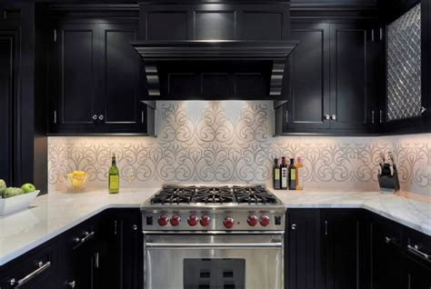 black backsplash in kitchen ornate patterned backsplash ideas with classic black kitchen cabinet for minimalist kitchen