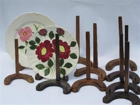 lot   stock walnut wood plate racks collectors display stands