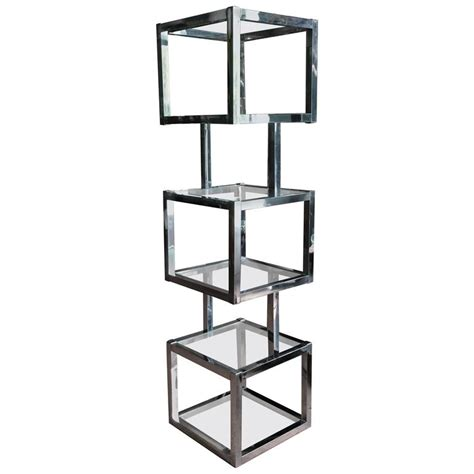 Chrome Etagere by Milo Baughman Style Cube Chrome Etagere With Glass Shelves