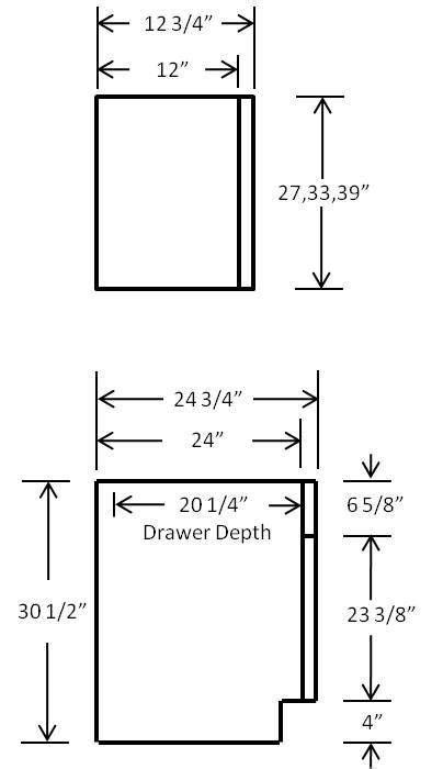 frameless cabinets general dimensions rta european