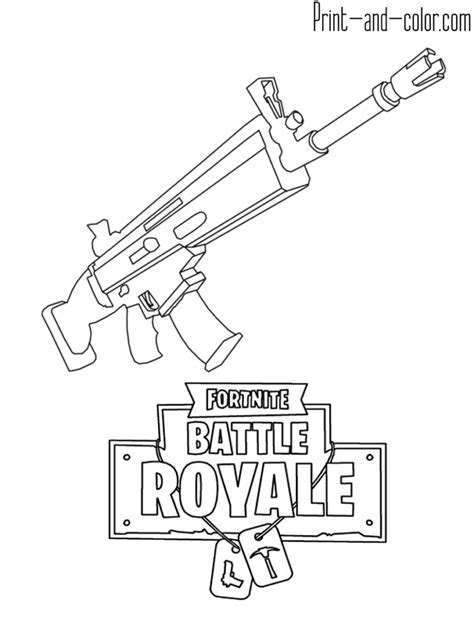 Kleurplaat Ak 47 by Fortnite Battle Royale Coloring Page Weapon Scar Assault