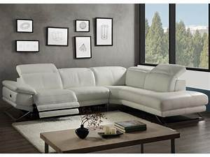 Canape angle cuir relax electrique blanc angle droit puno for Canape cuir angle relax electrique