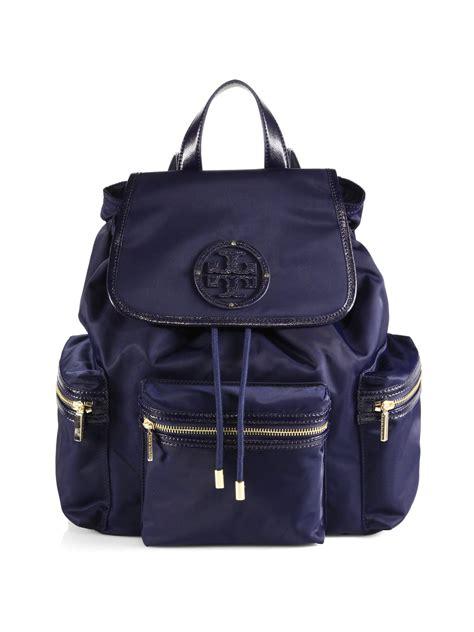 tory burch bill nylon backpack  violet blue blue lyst
