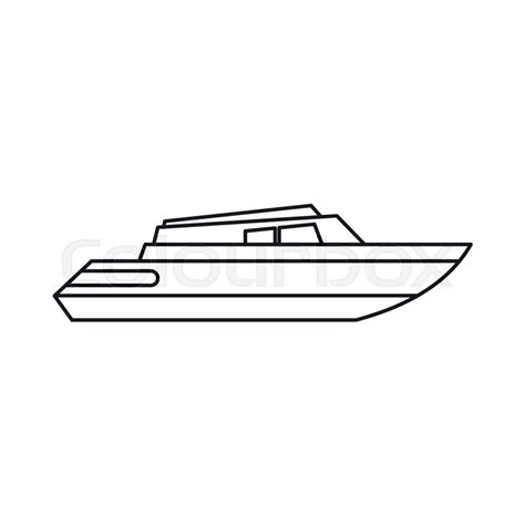 Motor Boat Outline by Planing Powerboat Icon In Outline Style Isolated On White