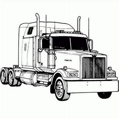 Coloring Truck Pages Semi Clipart Kenworth Wheeler