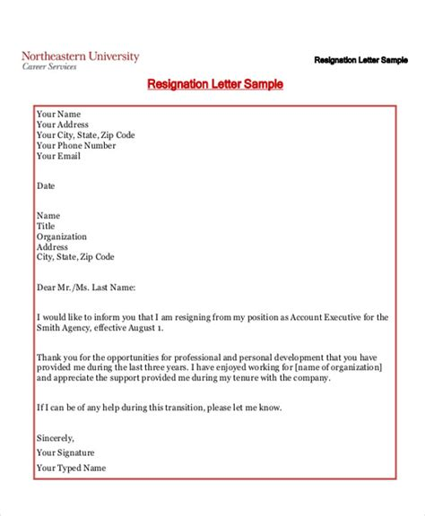 sample informal resignation letter  examples   word