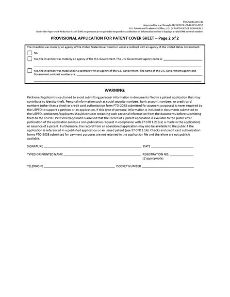 provisional patent template uspto 201 types of applications